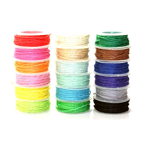 Mimi Pack 594 ft 2mm Jute Twine String Hemp Jute Rolls for Artworks, DIY Crafts, Gift Wrapping, Picture Display and Embellishments (18 Rolls) by Mimi Pack (Image #1)