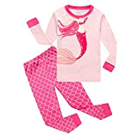 Family Feeling Mermaid Little Girls Long Sleeve Pajamas Sets 100% Cotton Pyjamas Toddler Kids Pjs Size 4T Red