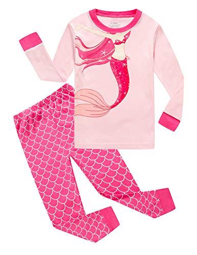 Family Feeling Mermaid Little Girls Long Sleeve Pajamas Sets 100% Cotton Pyjamas Kids Pjs Size 7 -
