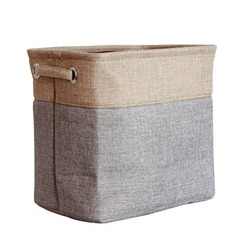 HAPEE Foldable Hand Held Ramie Cotton Bin Organizer Basket With Handles For  Nursery, Beauty Products Clothes Storage,Toy Organizer,Pet Toy Storing Fit  Most ...