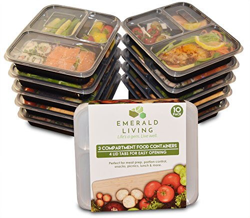 Emerald Living 10 Pack 3 Compartment BPA Free Meal Prep Containers. Reusable Plastic Food Containers & Lids. Bento Box, Lunch Box Container Set + EBook 36 oz