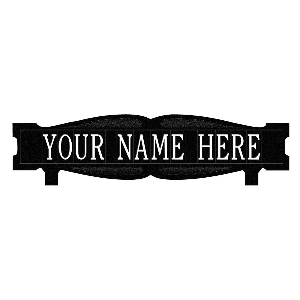 Whitehall Products Rectangular 2-Sided 1-Line Mailbox Sign without Ornament Standard - Black/White