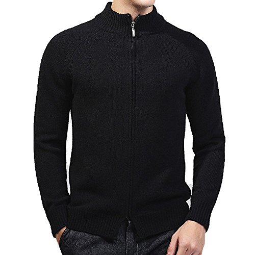 ZOOB MILEY Men's Stand Collar Knitted Cardigan Sweaters Zip Up Black Tag XL