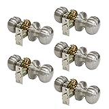 Probrico Satin Nickel Passage Door Knobs Handles for Hall or Closet Lockset Keyless Hardware 5 Pack