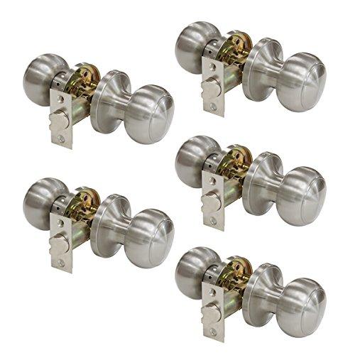 (Probrico Satin Nickel Passage Door Knobs Handles for Hall or Closet Lockset Keyless Hardware 5 Pack)