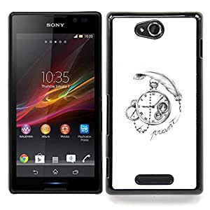 Eason Shop / Premium SLIM PC / Aliminium Casa Carcasa Funda Case Bandera Cover - Escribe blanco del reloj Negro - For Sony Xperia C