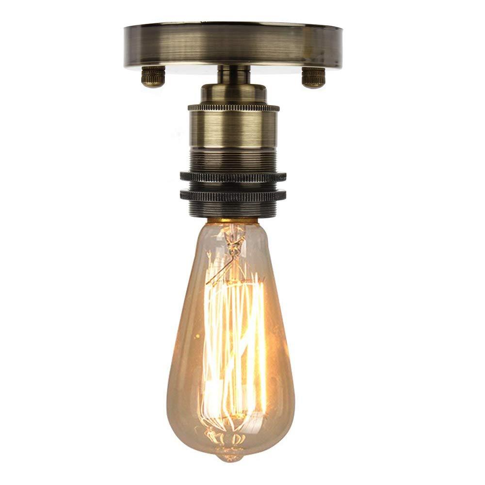 Retro Light Bulb Socket Ceiling Lamp Holder Edison Style E27 Vintage Ceramics Bulb Holder Pendant Light Adaptor Black, 4PCS