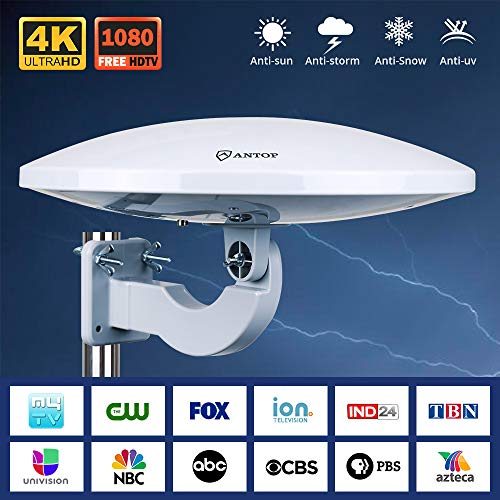 UFO 360 Omni-Directional Reception Outdoor TV Antenna 65 Miles Range with Smartpass Amplified & Built-in 4G LTE Filter for Indoor,Outdoor,RV,Attic Use Support VHF &UHF Digital Signal Grey
