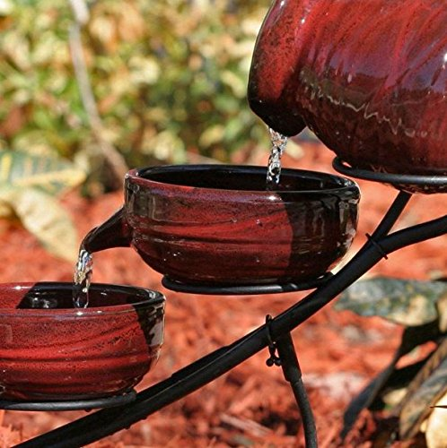 KandP Direct, Red Ceramic 5-Tier Hand Painted Outdoor Bird Bath Fountain with Solar Pump