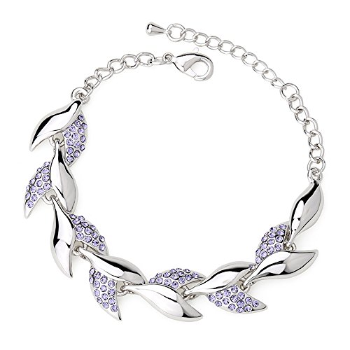 Winter's Secret Beauty Crystal Willow Leaves Diamond Accented Link Silver Girls Charming Bracelet - Willow Fashion Group