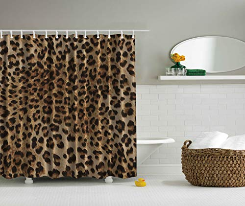 Ambesonne Bathroom Accessories Leopard Print Sexy Shower Curtain, Nearly Natural Wildlife Safari Decorations Big Cat Theme Fur Skin Animal Print Black Brown Beige Pattern Home Fabric Bath Decor Art