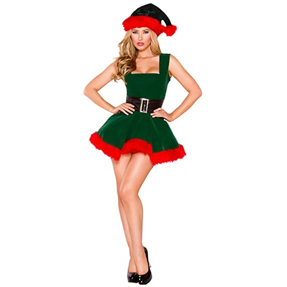 239d6caf55290 Yukeyy Femme Sexy Jupe Midi Costume Cosplay De Noël Costume De Scène  Vêtements De Fête pour Adultes (Une Taille