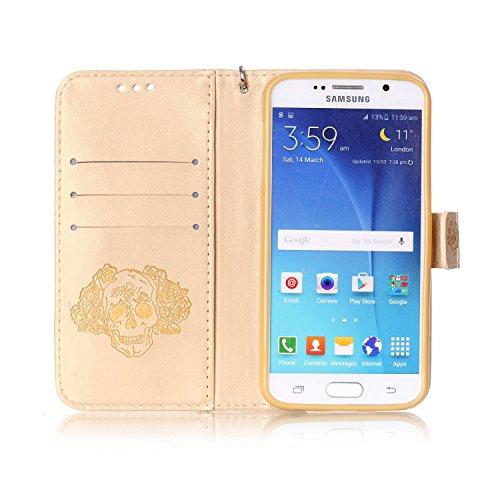 für Smartphone Samsung Galaxy S6 Hülle,Echt Leder Tasche für Samsung Galaxy S6 Flip Cover Handyhülle Bookstyle mit Magnet Kartenfächer Standfunktion + Staubstecker (7YY) 6