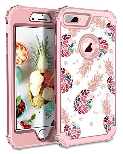 Lontect Compatible iPhone 8 Plus Case Pineapple 3 in 1 Heavy Duty Hybrid Sturdy Armor High Impact Shockproof Protective Cover Case for Apple iPhone 8 Plus/iPhone 7 Plus - Pineapple/Rose Gold