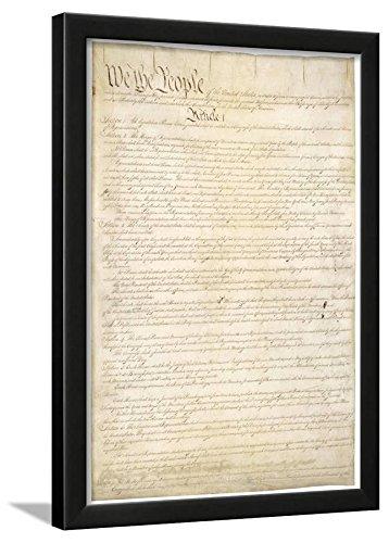 Constitution Framed (U.S. Constitution (First Page) Art Poster Print Framed Lamina, Black)