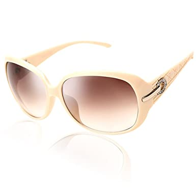 45ab498e2f Duco Women s Shades Classic Oversized Polarized Sunglasses 100% UV  Protection 6214 (Ivory Frame Brown