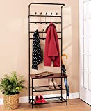 Hall Tree Coat Rack Bench with Shelf. Leave Your Shoes Here. This Entryway Furniture Will Organize Your Life. Guaranteed Organizing Storage Space Coat Racks Hooks Hangers Wood Metal Convenient Halltree Coatrack Benches Home Organization Review