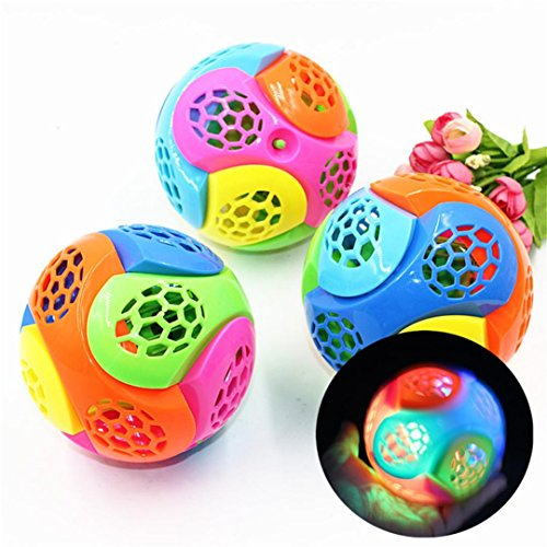 Livoty LED Fashion Music New Light-Up Ball Flash Dancing Kid Creative Puzzle Electric Bouncing Toy Fun Children Toddler Toys Developmental Football Toys (Multicolor)