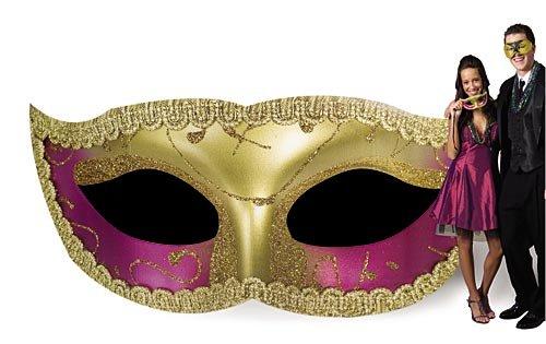 Glitter Masquerade Mask Mardi Gras Standee Standup Photo Booth Prop Background Backdrop Party Decoration Decor Scene Setter Cardboard Cutout -
