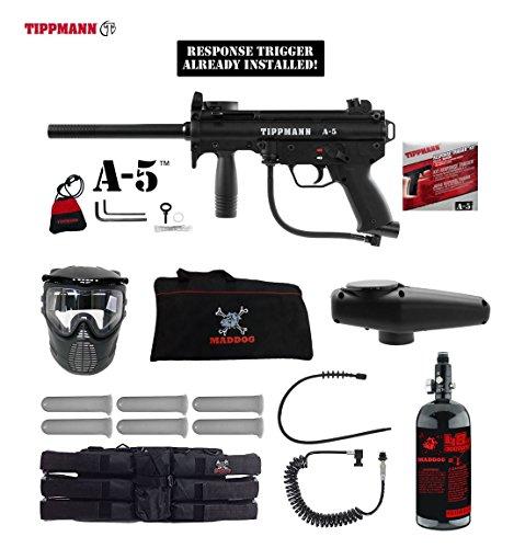 (MAddog Tippmann A5 A-5 w/Response Trigger Corporal HPA Paintball Gun Package - Black)
