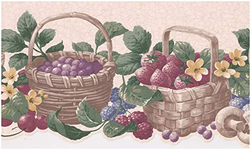 Prepasted Wallpaper Border - Berries Baskets Cherry Raspberry Strawberry Mushrooms Beige Scalloped Wall Border Retro Design, Roll 15 ft. x 9 in. ()