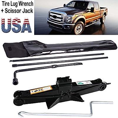 Super Duty Lug Nut Wrench +2 Ton Scissor Jack Tire Wheel Repair Tool Kit For Ford 2003-2007 F250 F350 F450 F550