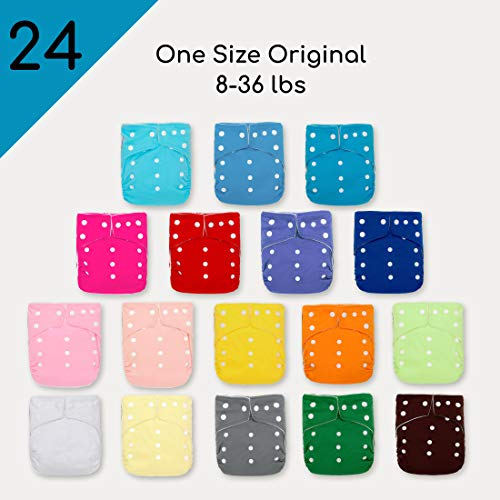 Kawaii Baby 24 Original Squared One Size Cloth Diapers with 48 Large Inserts for Babies 8-36 pounds  Reusable Nappy  Washable Diapers 