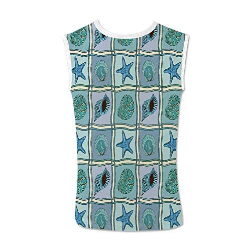 (TecBillion Starfish Decor Comfortable Tank Top,Marine Patchwork Inspired Pattern with Ropes Starfishes and Seashells Print for Men,XXL )