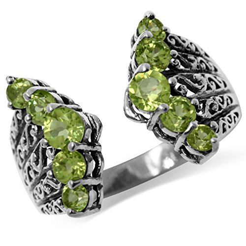 (1.8ct. Natural Peridot 925 Sterling Silver Victorian Style Filigree Ring Size 9)