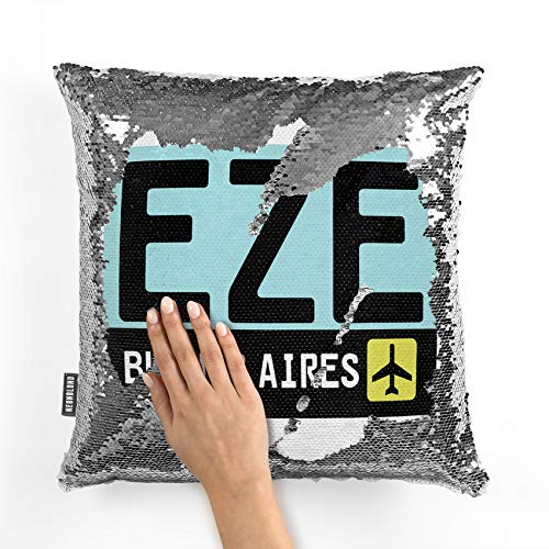 - NEONBLOND Mermaid Pillow Cover Airport Code EZE/Buenos Aires Country: Argentina Reversible Sequin