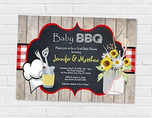 Couples Baby Shower Invitation (Baby Bbq Invitation, Barbecue Baby Shower Invitation, Baby Q Invitation BBQ Co-ed Couples Shower Invitation, BabyQ Coed Shower Invitation)