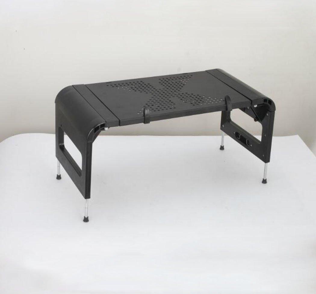 Hhdd Portable Laptop Desk Folding Computer Desk Adjustable Height Bed Sofa Laptop Bracket (with Fan)