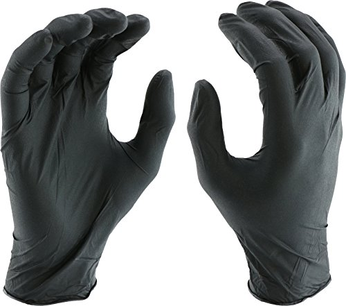 West Chester 2920 Industrial Grade Nitrile Disposable Gloves, 5 mil, Powder Free: Black, Small, Box of 100 by West Chester