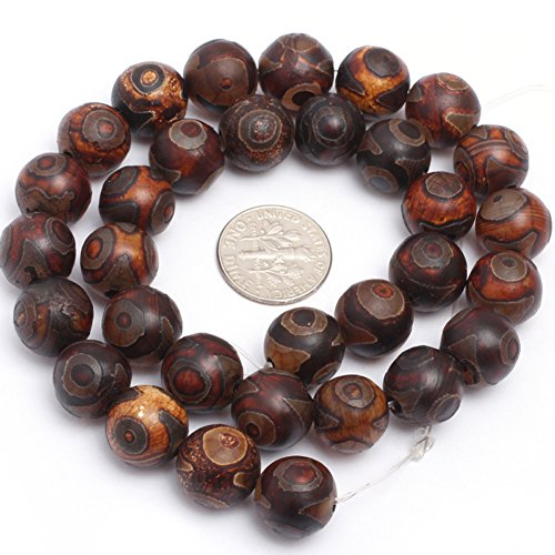 12mm Semi Precious Round Frost Vintage Banded Eye Wooden Agate Gemstone Beads for Jewelry Making Strand (Vintage Wooden Bead)