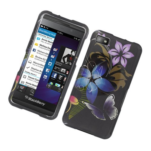 Eagle Cell PIBB10G2D109 Stylish Hard Snap-On Protective Case for BlackBerry Z10 - Retail Packaging - Flower and Purple Butterfly