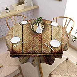DILITECK Victorian Round Polyester Tablecloth Antique Clock on Medieval Style Wall Wooden Floor Classic Architecture Theme Art and Durable Diameter 70 Beige Brown