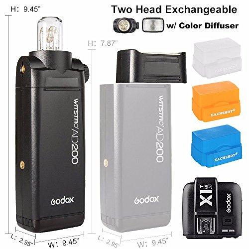 Godox AD200 w/ Transmitter X1T-N, 200Ws 2.4G TTL Flash Strobe 1/8000 HSS Cordless Monolight 2900mAh Lithimu Battery & Bare Bulb/Speedlite Fresnel Flash Head to Cover 500 Full Power Shots For Nikon by Godox