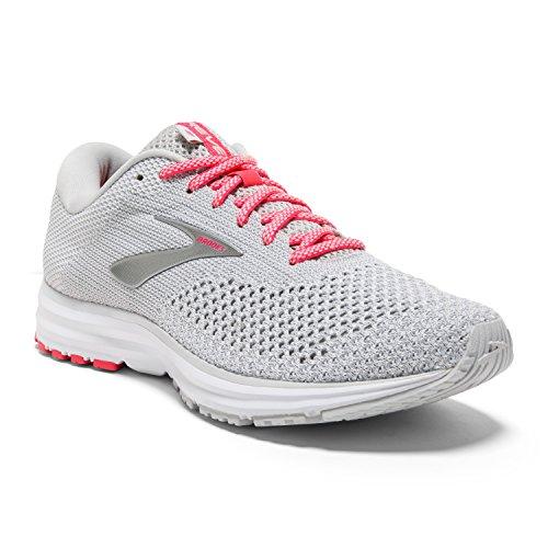 Brooks Womens Revel 2 Running Shoe - Grey/White/Pink - B - 6.5