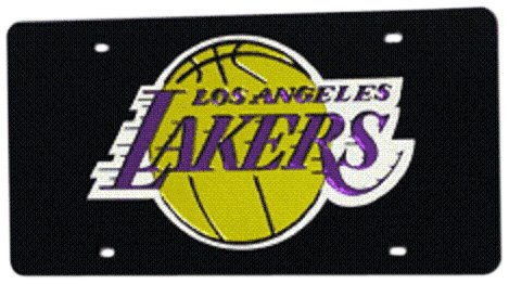 Los Angeles Lakers Metal - Rico Industries NBA Los Angeles Lakers Laser Inlaid Metal License Plate Tag, Black
