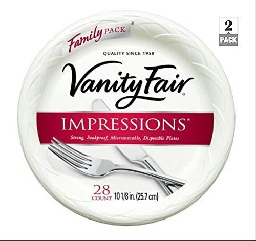 Vanity Fair Impressions 10 1/8in. (25.7 cm), Disposable Plates, 28 Count (2 Pack), Family Size, Heavyweight