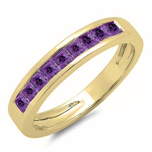- 0.75 Carat (ctw) 10K Yellow Gold Princess Genuine Amethyst Ladies Wedding Stackable Ring 3/4 CT