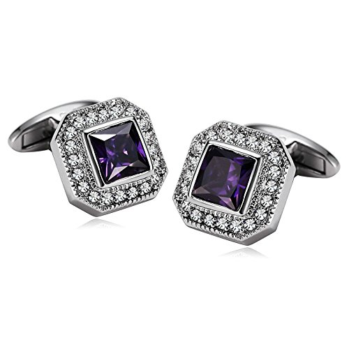 Unc No Coins (Gnzoe Men Stainless Steel Shirt Cuff Links Wedding Business Rounded Crystal Zirconia Inlaid Silver Purple)