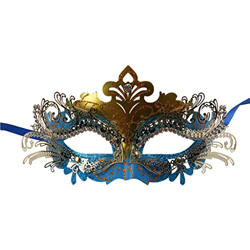 Vanki 1 Pcs Masquerade Mask Laser Cut Metal Shiny Rhinestone Party Mask,Blue&Gold