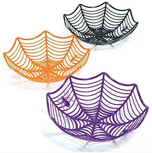 Halloween Serving Bowl Includes 1 Spiderweb Basket Assorted Colors