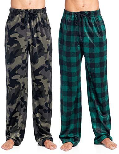 (Ashford & Brooks Men's Mink Fleece Sleep Lounge Pajama Pants - 2 PK - Black Camo/Hunter Buffalo Check - 2X-Large )
