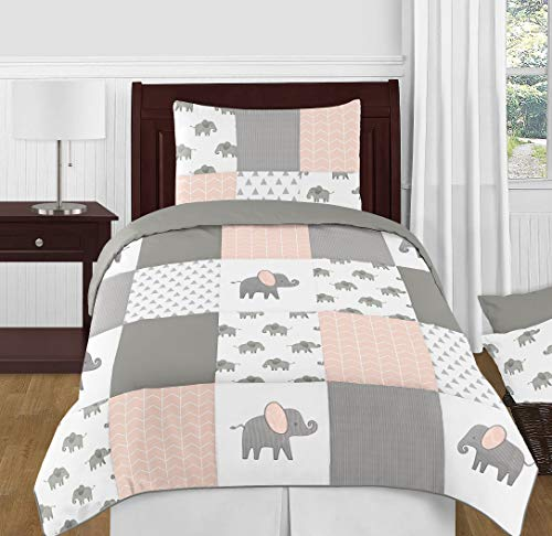 Sweet Jojo Designs Blush Pink, Grey and White Watercolor Elephant Safari Girl Twin Kid Childrens Bedding Comforter Set - 4 Pieces ()