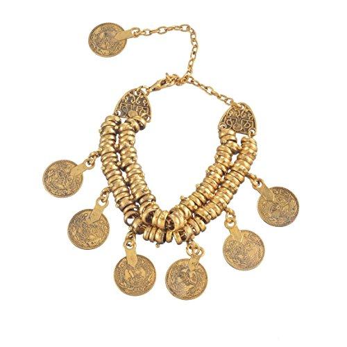 Souarts Bijoux Femme Bracelet Chaîne Pendentif Style Ethnique Bohemian Couleur Dore 1PC