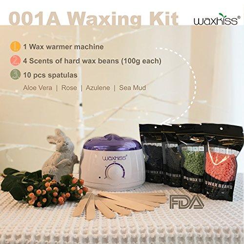 Waxkiss Wax Warmer Kit - Body Hair Removal Brazilian Wax Kit Effective Painless Treatment Bikini Upper Lip Armpit Home Waxing Kit 14oz 1 Wax Warmer 4 Bags Wax Beans 10 (Mini Peel Kit)