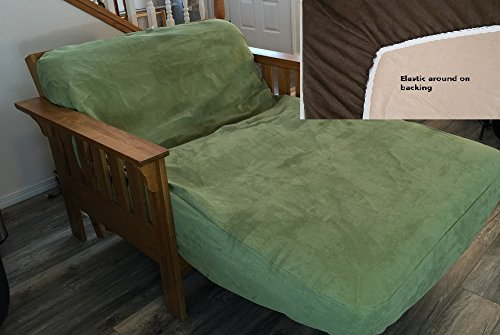 OctoRose Twin Size Elastic Around on Backing Micro Suede Easy Fit Fitted Futon Cover (SageGreen)
