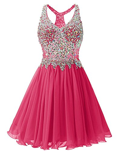 Fanciest Women's Beaded 2019 Prom Dresses Short Bridesmaid Homecoming Dress Hot Pink US4